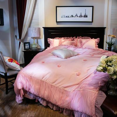 新款蕾丝花边真丝水洗四件套卡西 床裙式床单 标准 卡西