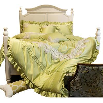 新款蕾丝花边真丝水洗四件套蕾丝珍珠款绿色 床裙式床单 圆形南瓜枕(含芯) 珍珠款绿色