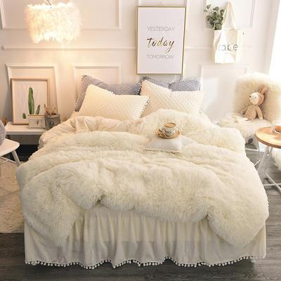 优眠家纺秋冬爆款保暖水晶绒宝宝绒水貂绒系列床裙款四件套 需定制1.2m(4英尺)床 暖心白