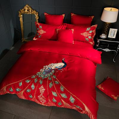 幻羽四件套 1.8m(6英尺)床 大红色