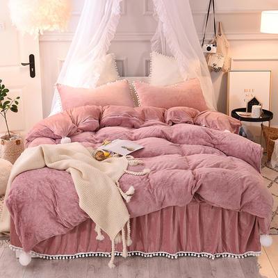 2019新款-韩版公主风兔兔绒毛球床裙水晶绒四件套 三件套1.2m(4英尺)床 兔绒 豆沙