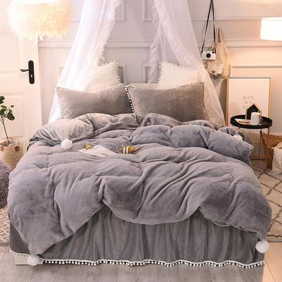 2019新款-韩版公主风兔兔绒毛球床裙水晶绒四件套 三件套1.2m(4英尺)床 兔绒 灰