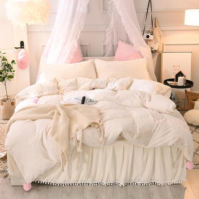2019新款-韩版公主风兔兔绒毛球床裙水晶绒四件套 三件套1.2m(4英尺)床 兔绒 米白