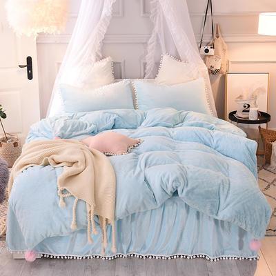 2019新款-韩版公主风兔兔绒毛球床裙水晶绒四件套 三件套1.2m(4英尺)床 兔绒 水蓝