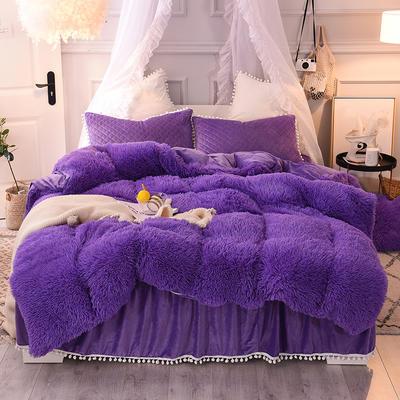优眠家纺秋冬爆款保暖水晶绒宝宝绒水貂绒系列床裙款四件套 爱心抱枕/一个 烟然紫