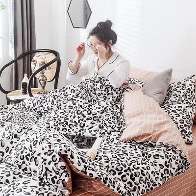 2019新款-网红爆款INS简约小清新全棉四件套 床笠款1.8m(6英尺)床 豹纹芭比