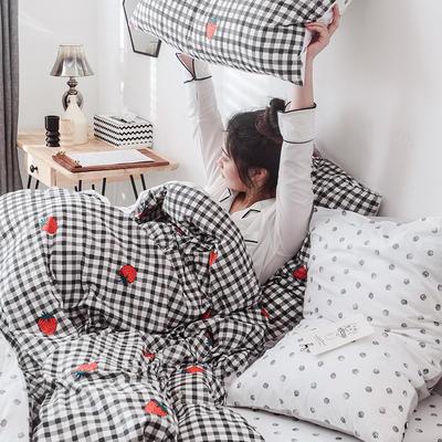 2019新款-网红爆款INS简约小清新全棉四件套 床笠款1.8m(6英尺)床 草莓甜心