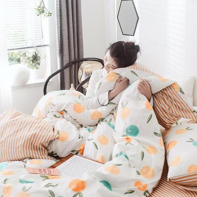 2019新款-网红爆款INS简约小清新全棉四件套 床笠款1.8m(6英尺)床 橙日幽香