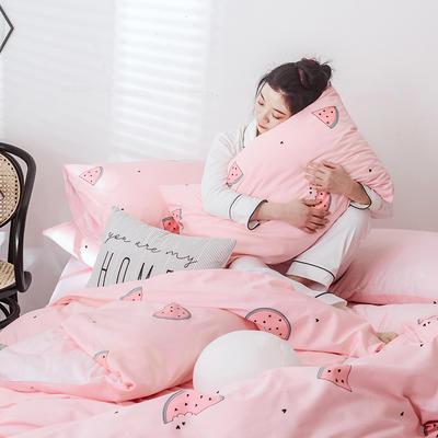 2019新款-网红爆款INS简约小清新全棉四件套 床笠款1.8m(6英尺)床 粉色西瓜