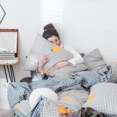 2019新款-网红爆款INS简约小清新全棉四件套 床笠款1.8m(6英尺)床 格子橙