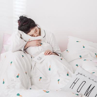 2019新款-网红爆款INS简约小清新全棉四件套 床笠款1.8m(6英尺)床 胡萝卜