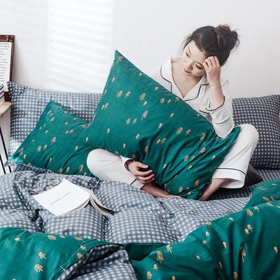 2019新款-网红爆款INS简约小清新全棉四件套 床笠款1.8m(6英尺)床 静溢