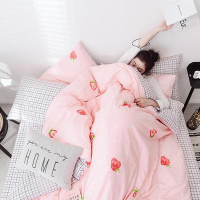 2019新款-网红爆款INS简约小清新全棉四件套 床笠款1.8m(6英尺)床 可爱草莓