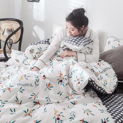 2019新款-网红爆款INS简约小清新全棉四件套 床笠款1.8m(6英尺)床 落落繁华