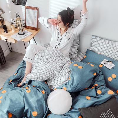 2019新款-网红爆款INS简约小清新全棉四件套 床笠款1.8m(6英尺)床 甜橙