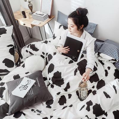 2019新款-网红爆款INS简约小清新全棉四件套 床笠款1.8m(6英尺)床 甜蜜奶牛