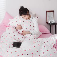 2019新款-网红爆款INS简约小清新全棉四件套 三件套1.2m(4英尺)床 心心相印