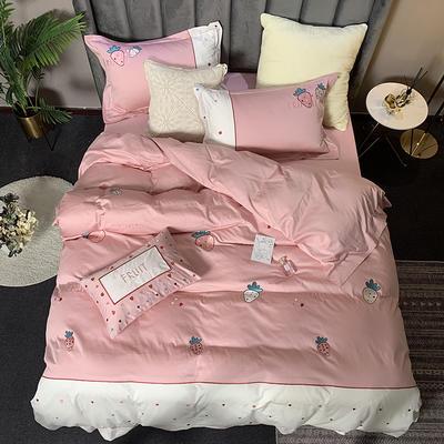 2019新款-贡缎60s长绒棉四件套(总) 1.8m(6英尺)床(床单款) 甜蜜草莓-粉黛