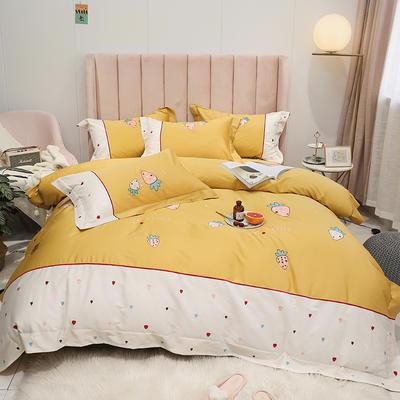 2019新款-60S支贡缎长绒棉刺绣四件套(风格二) 1.8m(6英尺)床(床单款) 甜蜜草莓-姜黄