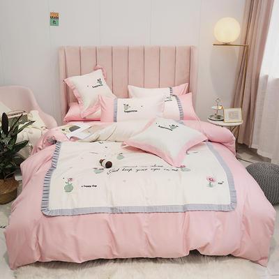 2019新款-60S支贡缎长绒棉刺绣四件套(风格二) 1.8m(6英尺)床(床单款) 仙人掌 花粉
