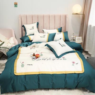 2019新款-60S支贡缎长绒棉刺绣四件套(风格二) 1.8m(6英尺)床(床单款) 仙人掌 墨绿