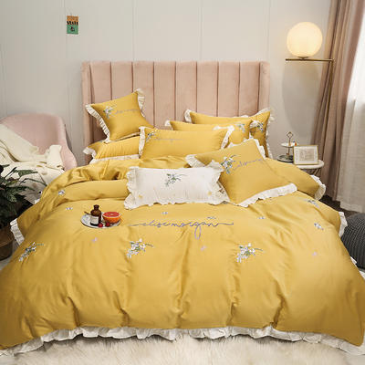 2019新款-60S支贡缎长绒棉刺绣四件套(风格二) 1.8m(6英尺)床(床单款) 悠香 姜黄