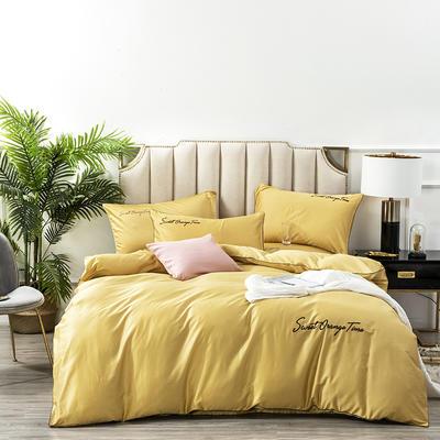 2020新款60S支长绒棉纯色刺绣花美好时光系列四件套 1.5m床单款四件套 嫩黄