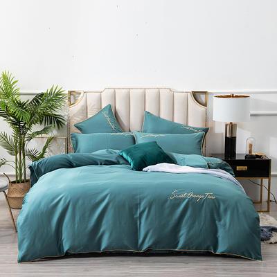 2020新款60S支长绒棉纯色刺绣花美好时光系列四件套 1.5m床单款四件套 月光蓝