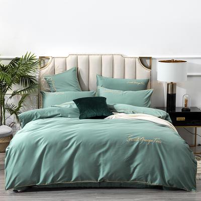 2020新款60S支长绒棉纯色刺绣花美好时光系列四件套 1.5m床单款四件套 云杉绿