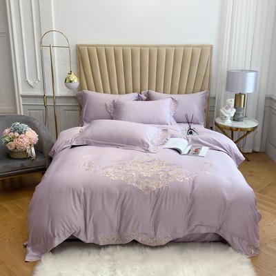 2020春夏新款 60S贡缎天丝刺绣四件套  卡洛琳系列 1.5m床单款四件套 卡洛琳  优雅紫