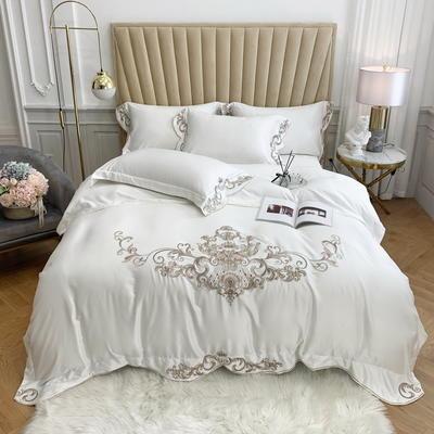2020春夏新款 60S贡缎天丝刺绣四件套  卡洛琳系列 1.5m床单款四件套 卡洛琳 象牙白