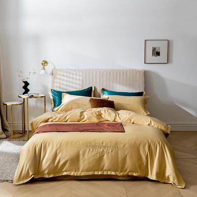 2020新品 小清新纯色60S贡缎天丝宽边刺绣系列四件套 1.5m床单款四件套 嫩黄