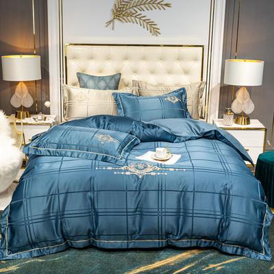 2020新品60S贡缎提花刺绣B版纯棉欧奢系列四件套 1.8m床单款四件套 欧奢 月光蓝