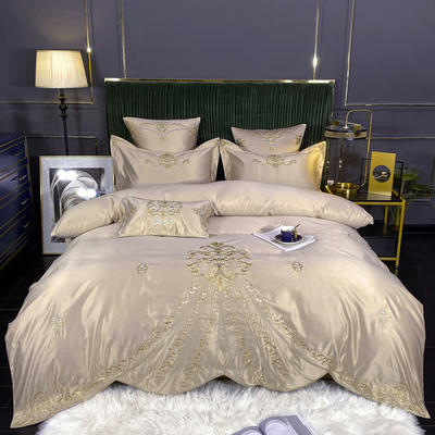 2020新款60S支贡缎真臻品丝B版纯棉刺绣卡瑞娜系列四件套 1.8m床单款四件套 卡瑞娜 -香槟金
