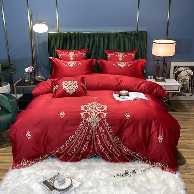2020新款60S支贡缎真臻品丝B版纯棉刺绣卡瑞娜系列四件套实拍图 1.8m床单款四件套 卡瑞娜 -玫瑰红