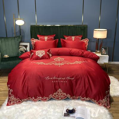 2020新款60S贡缎真丝刺绣B版纯棉维斯蒂系列四件套 1.8m床单款四件套 维斯蒂-大红