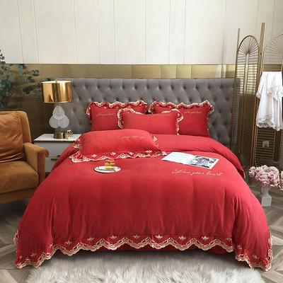 花样年华系列-2020秋冬新款水晶绒欧式花边刺绣宝宝绒四件套 1.5m床单款四件套 大红