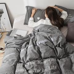 2018新款秋冬色织水洗棉拼宝宝绒四件套 1.2m床(三件套)床单款 晚安灰
