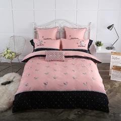 2018新款60长绒棉贡缎绣花四件套-粉色小鸭 标准1.5m-1.8m床 粉色小鸭