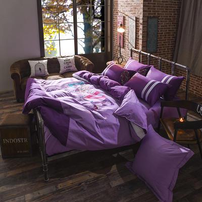 40支全棉贡缎绣花套件 抱枕套一对 简爱-紫