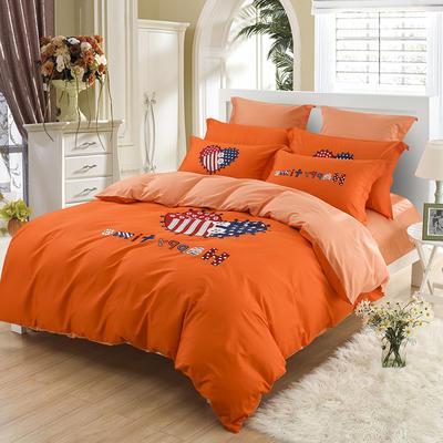 40支全棉贡缎绣花套件 抱枕套一对 美好心情-橙