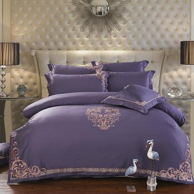 60支长绒棉贡缎绣花套件 奥德利 标准 紫