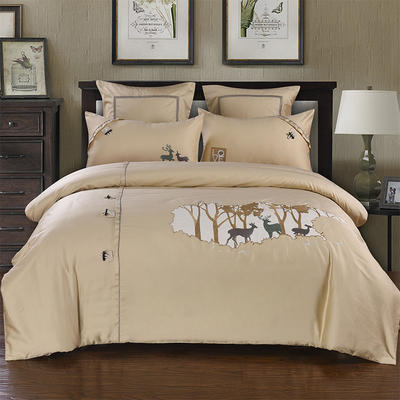 60支长绒棉贡缎绣花套件 麋鹿森林 抱枕套一对 落叶黄