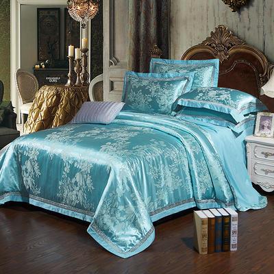 2017新款全棉贡缎提花四件套 适用于1.5-1.8米床 靓丽花都-浅蓝