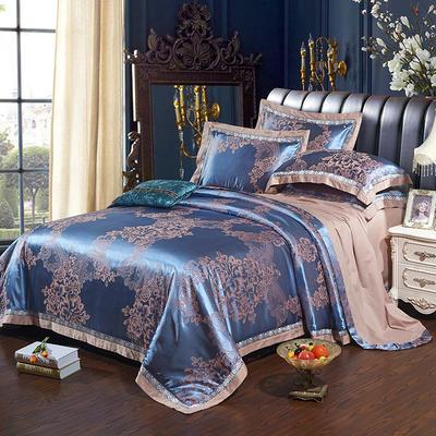 2017新款全棉贡缎提花四件套 适用于1.5-1.8米床 沁香花语-孔雀蓝