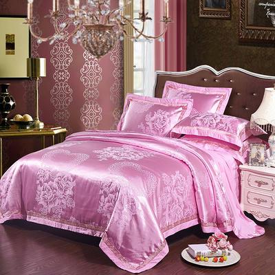 2017新款全棉贡缎提花四件套 适用于1.5-1.8米床 永结同心-粉色