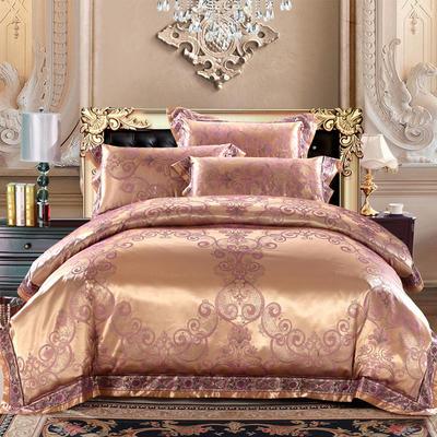 臻彩丝提花套件 标准 米兰香颂 紫金