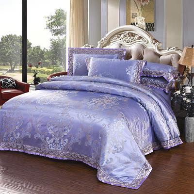 臻彩丝提花套件 加大 瑞丽庄园-蓝紫