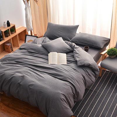 无印良品风水洗棉套件 1.8m(6英尺)床 纯色-深灰