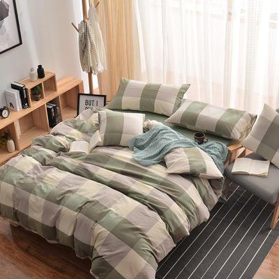 无印良品风水洗棉套件 1.8m(6英尺)床 绿大格